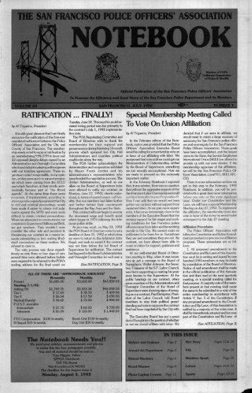 July 1992 - San Francisco Police Officers Association