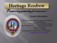 Heritage Renfrew - the Town of Renfrew