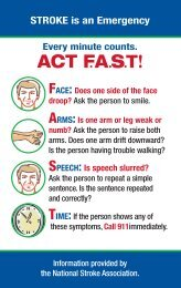 to download a pdf of the Stroke Signs & Symptoms. - Meriter Health ...