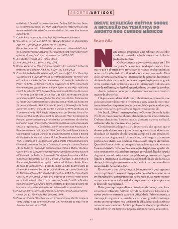 brEvE rEFlExão crítica sobrE a inclusão da ... - Ciência e Cultura