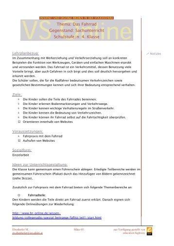 Thema: Das Fahrrad Gegenstand: Sachunterricht Schulstufe/n: 4 ...