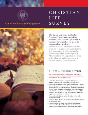 ChrISTIan LIFE SUrvEY - Westmont College