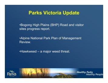 Parks Victoria Update - Falls Creek