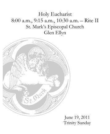 Sunday Bulletin for June 19, 2011 - St. Mark's Episcopal Church