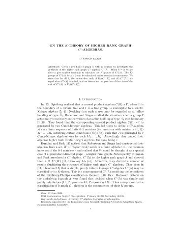 ON THE K-THEORY OF HIGHER RANK GRAPH C∗-ALGEBRAS. 1 ...