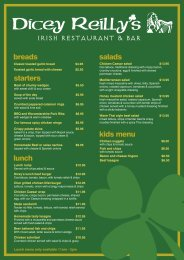 kids menu salads IRISH RESTAURANT & BAR ... - ourHotels.com.au