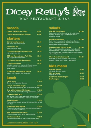 kids menu salads IRISH RESTAURANT & BAR ... - ourHotels.com.au