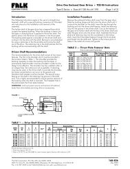 Drive Shaft Dimensions (mm) - Rexnord