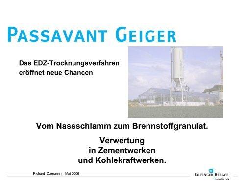 Vom Nassschlamm zum Brennstoffgranulat. Verwertung in ...