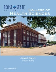 2008-2009 Annual Report - College of Health Sciences - Boise ...