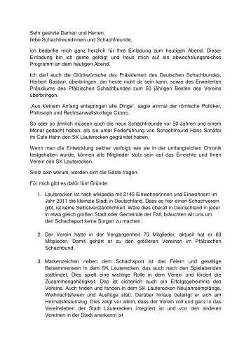 Laudatio - Pfälzischer Schachbund