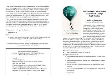 The Good Life discussion guide booklet - Anglican Diocese of Perth