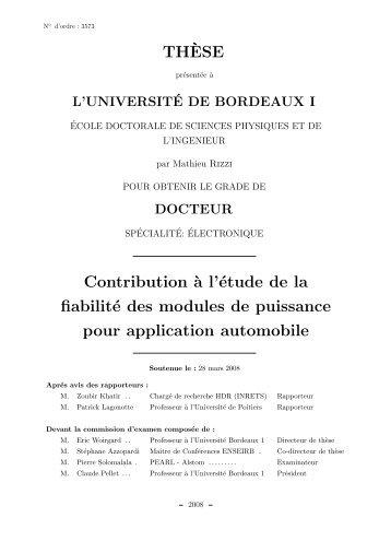Contribution `a l'étude de la fiabilité des modules de puissance pour ...