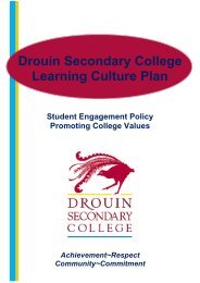 Learning Culture Plan 2009 - Drouin Secondary College