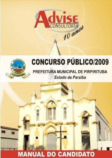 Edital de Concurso Público 001 - 2009 - Pirpirituba-PB _livro - Advise