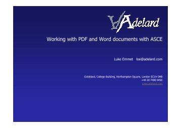 Working with PDF and Word documents with ASCE - Adelard
