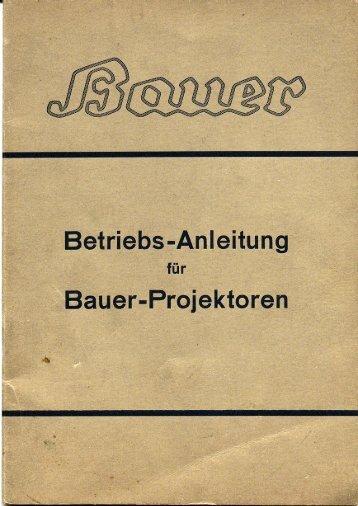 Betriebsanleitung für Bauer-Projektoren - Kinobauer.de