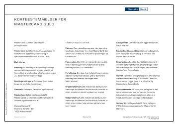 PenSam Bank. Prisliste for MasterCard pr. 01.02.2012