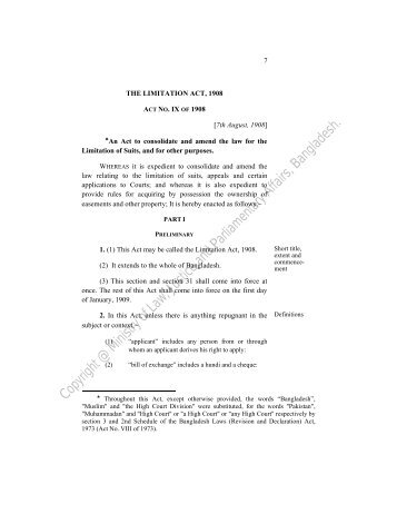 preliminary - Laws of Bangladesh - Ministry of Law, Justice and ...