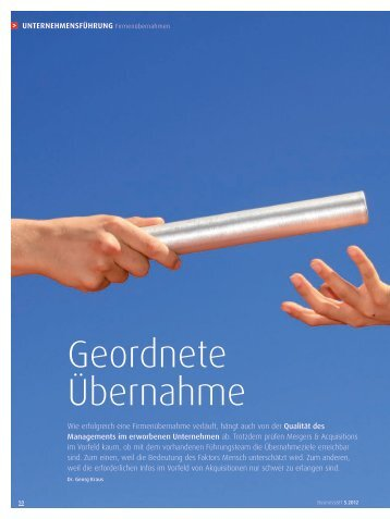 Change Management - Geordnete Übernahme - Dr. Kraus & Partner