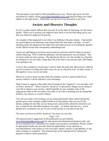 Anxiety and Obsessive Thoughts - Help with Panic Attacks