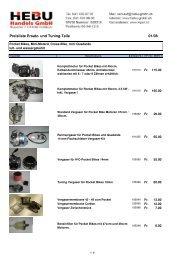 Preisliste Ersatzteile - HEBU-Gmbh