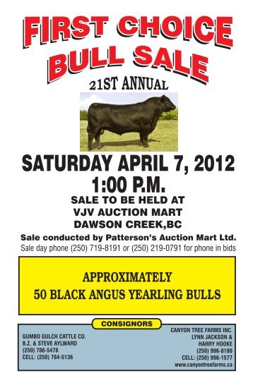 SATURDAY APRIL 7, 2012 1:00 P.M. - BC Angus Association