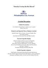 Evening Bar or Bat Mitzvah Menu - Hilton Philadelphia City Avenue