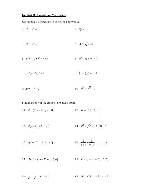 Calculus Super Secret Number Puzzle Implicit Differentiation   TpT in addition Pinterest moreover Course Worksheet 2 6 and 2 7 Higher Order Derivatives and Implicit together with Solved  Find The Derivative Y' Using Implicit Differentiat likewise WORKSHEET 8 SOLUTIONS Implicit differentiation 1  The curve further Math Plane   Implicit Differentiation Notes and Ex les moreover Lesson 16  Implicit Differentiation further Implicit differentiation worksheet answers   5 7 Implicit besides Implicit Differentiation Worksheet   Rowland High moreover Solved  CALCULUS WORKSHEET ON IMPLICIT DIFFERENTIATION Dy in addition Desmosify Your Worksheet – dy dan in addition Implicit Partial Differentiation Math Be Careful When Applying further Solved  229 Worksheet On Implicit Differentiation  2 6 Giv likewise Implicit Differentiation Worksheet The best worksheets image further  furthermore Implicit Differentiation Worksheet   Homedressage. on implicit differentiation worksheet with answers