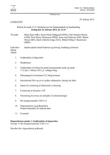 24. februar 2012 GODKENDT Referat fra møde 2/12 i Studienævnet ...