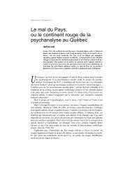 Le mal du Pays, ou le continent rouge de la psychanalyse au Québec
