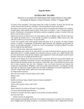 Eugenio Barba Il CIELO DEL TEATRO Discorso in ... - Odin Teatret
