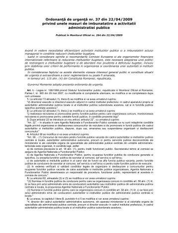 Ordonanţă de urgenţă nr. 37 din 22/04/2009 privind unele masuri de ...