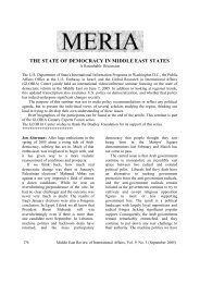 THE STATE OF DEMOCRACY IN MIDDLE EAST ... - GLORIA Center