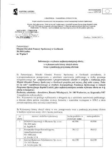 Informacja o wyborze najkorzystniejszej oferty - Miejski Ośrodek ...