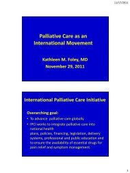 Palliative Care as an International Movement - Department of Pain ...