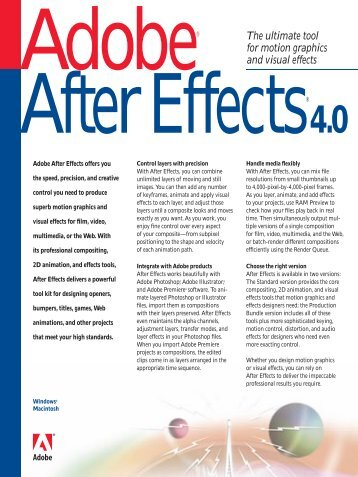 Adobe After Effects 4.0 Brochure - A Matter of Fax