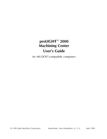 proLIGHT™ 2000 Machining Center User's Guide - MHz Electronics ...