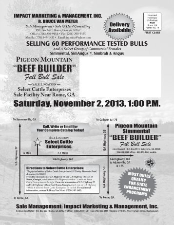 Saturday, November 2, 2013, 1:00 P.M. Fall Bull Sale - Georgia ...