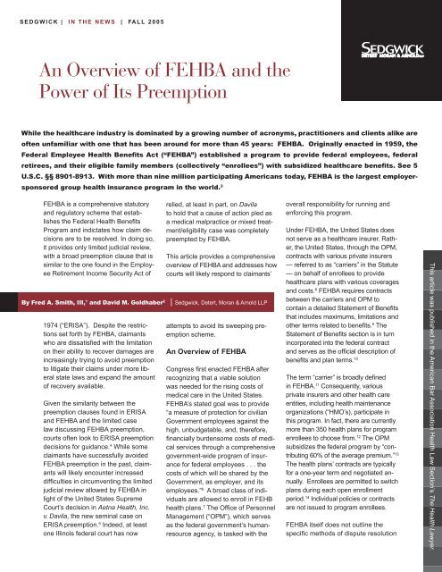 The Health Lawyer, October 2005 - Sedgwick LLP