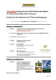 Vorläufiges Programm zum XIV Festival del ... - Cuba Real Tours