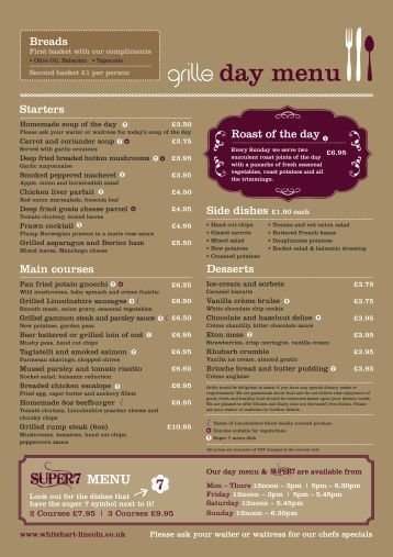 day menu - White Hart Hotel
