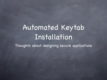 Automated Keytab Installation