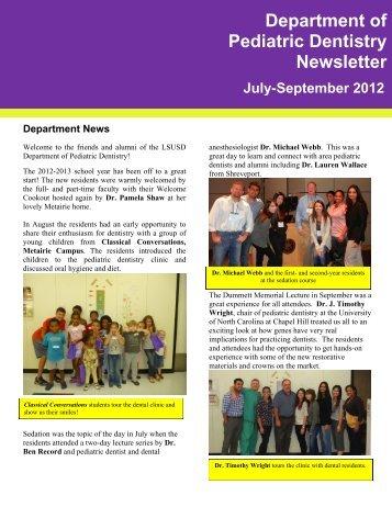 Department of Pediatric Dentistry Newsletter July-September 2012