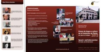 Flyer Sprach- und Kulturwochen 2013 - Chesa Planta Samedan