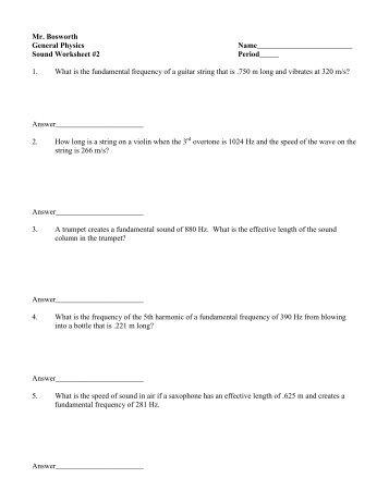 waves and sound worksheet 2 - Waves Worksheet
