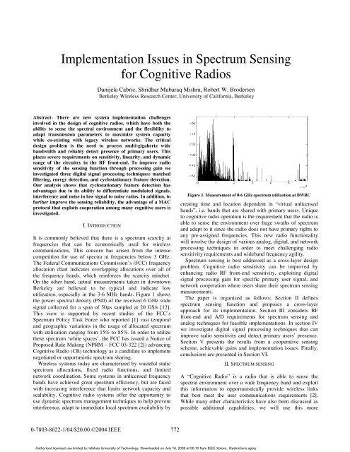 Implementation issues in spectrum sensing for ... - M. Javad Omidi
