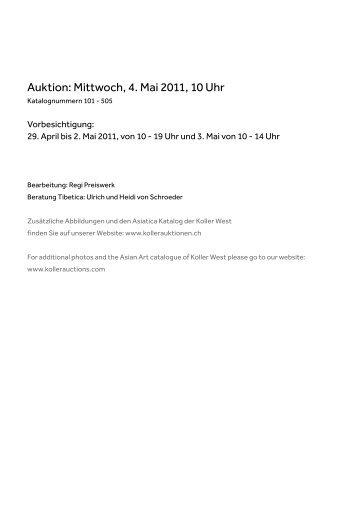 Auktion: Mittwoch, 4. Mai 2011, 10 Uhr - Koller Auktionen