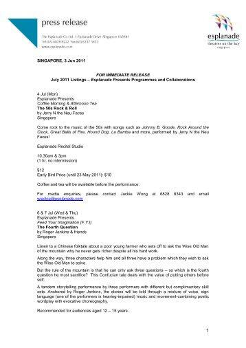 SINGAPORE, 3 Jun 2011 FOR IMMEDIATE RELEASE ... - Esplanade