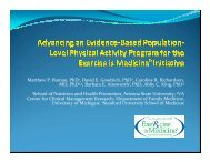 Advancing an Evidence-Based Population-Level Physical Activity ...
